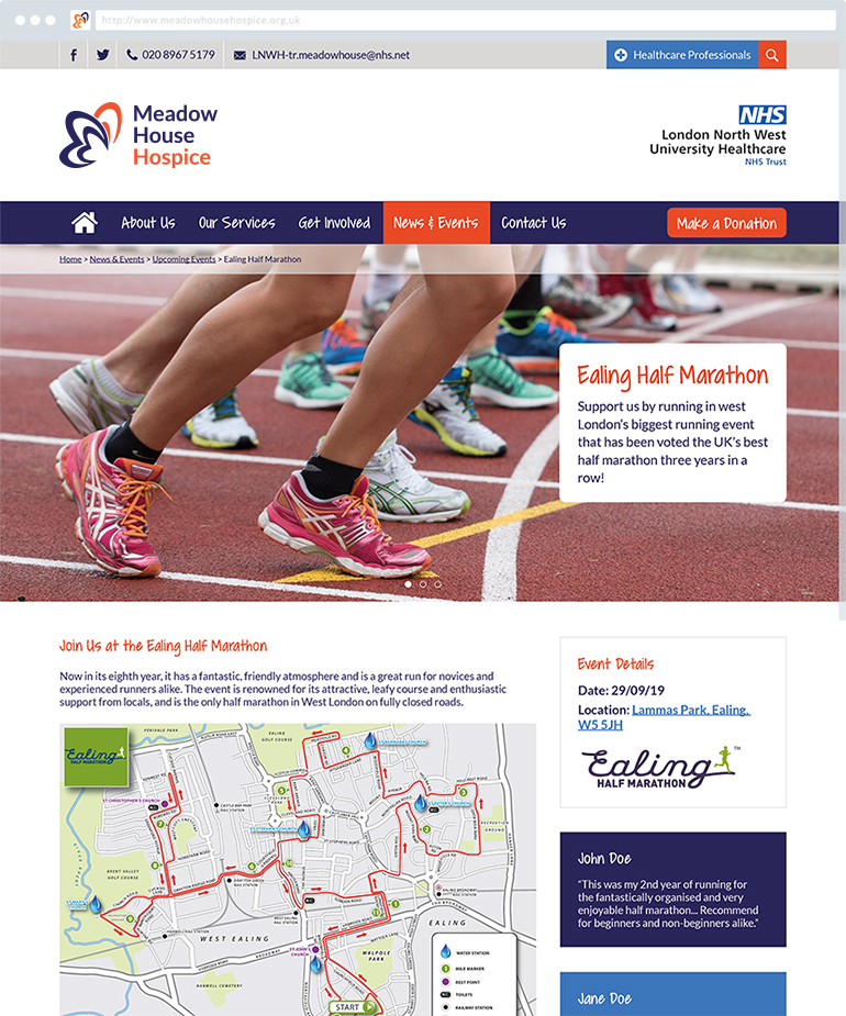 Meadow House Hospice - Website Event Page